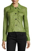 Lafayette 148 New York Miriam Crinkled Lambskin Leather Jacket - Lyst