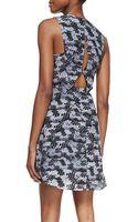 Rebecca Taylor Summer Storm Printed-silk Sleeveless Dress Black Combo 0 - Lyst