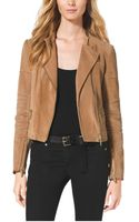 Michael Kors Leather Quilted Moto Jacket - Lyst