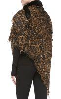 Sofia Cashmere Fox Furtrim Leopardprint Shawl - Lyst