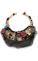 Betsey Johnson Goldtone Skull Critter Statement Frontal Necklace - Lyst