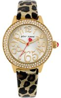 Betsey Johnson Ladies Goldtone Crystal Leather Watch - Lyst