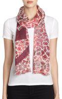 Tory Burch Watercolor Leopard-print Wool Scarf - Lyst