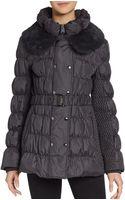 Via Spiga Rabbit Fur Collar Coat - Lyst