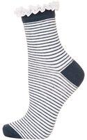 Topshop Lace Trim Stripe Ankle Socks  - Lyst