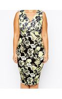 Asos Curve Exclusive Pencil Dress in Mixed Floral Print - Lyst