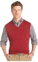 Izod Fine Gauge Cotton Sweater Vest - Lyst