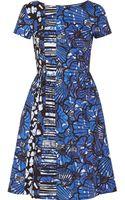 Oscar de la Renta Printed Cottonblend Poplin Dress - Lyst