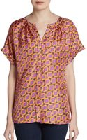 Lafayette 148 New York Printed Silk Blouse - Lyst