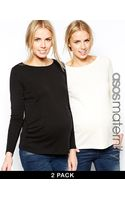 Asos Maternity Crew Neck Top with Long Sleeves 2 Pack - Lyst