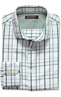 Banana Republic Tailored Slim Fit Non Iron Textured Line Shirt Green - Lyst
