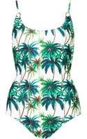 Topshop Womens Palm Tree Print Ring One Piece Cream - Lyst