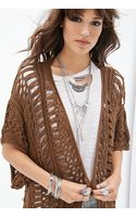 Forever 21 Open-knit Long Cardigan - Lyst