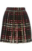Saint Laurent Sequin Embellished Tartan Skirt - Lyst
