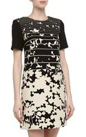 4.collective Shortsleeve Striped Floral Print Dress - Lyst
