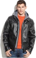 Guess Hooded Faux Leather Moto Jacket - Lyst