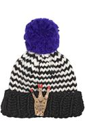 Maria Francesca Pepe Wool Beanie Hat W Gold Pleated West Pin - Lyst