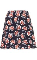 Topshop Navy Floral Silk Skirt By Boutique - Lyst