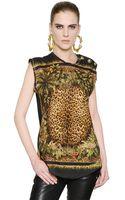 Balmain Leopard Printed Cotton Tshirt - Lyst