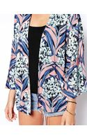 Asos Kimono in Pink Floral - Lyst