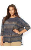 Lauren by Ralph Lauren Plus Striped Linencotton Sweater - Lyst