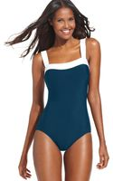 Inc International Concepts Contrasttrim Onepiece Swimsuit - Lyst