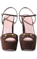 Gucci Claudine Suede Horsebit Sandals - Lyst