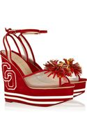 Charlotte Olympia Team Spirit Embellished Suede and Mesh Wedge Sandals - Lyst