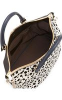 Chloé Baylee Spotted Calf Hair Medium Satchel Bag Blackwhite - Lyst