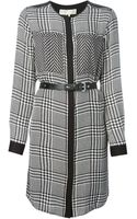 MICHAEL Michael Kors Houndstooth Print Belted Dress - Lyst