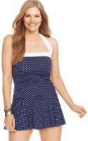 Lauren by Ralph Lauren Plus Size Polkadotprint Ruffled Swimsuit - Lyst