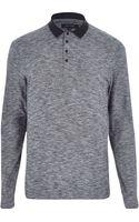 River Island Dark Grey Long Sleeve Contrast Polo Shirt - Lyst