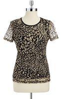 Anne Klein Leopard Print Textured Top - Lyst
