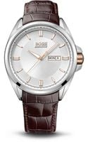 Hugo Boss Brown Croc Emed Leather Strap Watch - Lyst