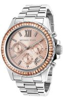 Michael Kors Womens Everest Chronograph Stainless Steel Rose-tone Dial - Lyst