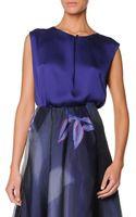 Giorgio Armani Sleeveless Buttoned Silk Satin Top - Lyst