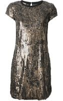 Nude Sequinned Shift Dress - Lyst