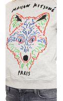 Maison Kitsuné 3d Fox Sweatshirt  Grey Melange - Lyst
