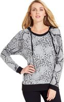 DKNY Animal-print Hooded Sweatshirt - Lyst