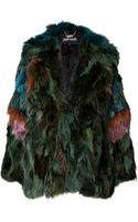 Just Cavalli Fox Fur Jacket in Green - Lyst