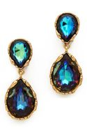 Oscar de la Renta Large Crystal Clip On Earrings - Lyst