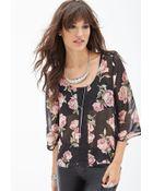 Forever 21 Rose Print & Crochet Top - Lyst