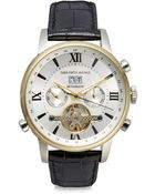 Saks Fifth Avenue Automatic Stainless Steel & Leather Strap Watch - Lyst