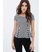 Forever 21 Striped Peplum Top - Lyst