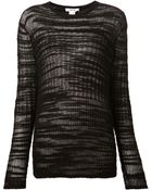 Helmut Lang Distressed Sheer Sweater - Lyst