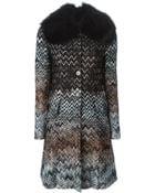 Missoni Fox Fur Collar Coat - Lyst