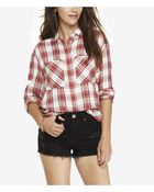 Express Oversized Plaid Shirt - Red And White - Lyst