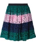 MSGM Colour Block Pleated Lace Skirt - Lyst