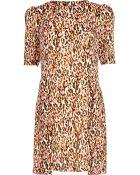 River Island Pink Graphic Leopard Print Shift Dress - Lyst