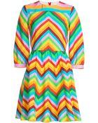 Valentino Chevron Print Silk Crepe Dress - Lyst